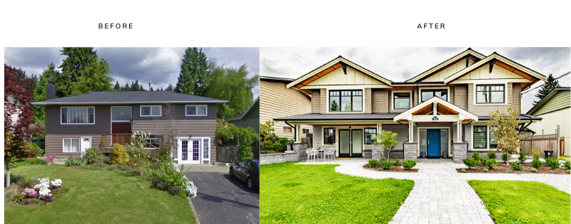 exterior before and after renovation north vancouver