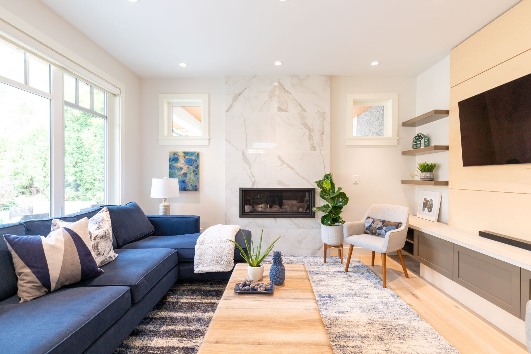 Livingroom before and after renovation north Vancouver